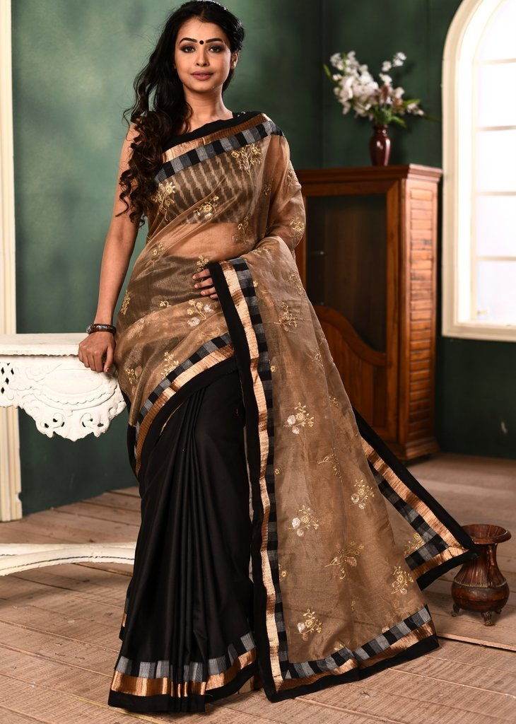Exclusive embroidered organza with crepe pleats & handloom cotton striped border