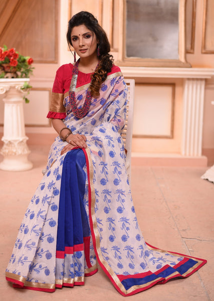 Floral printed chanderi saree