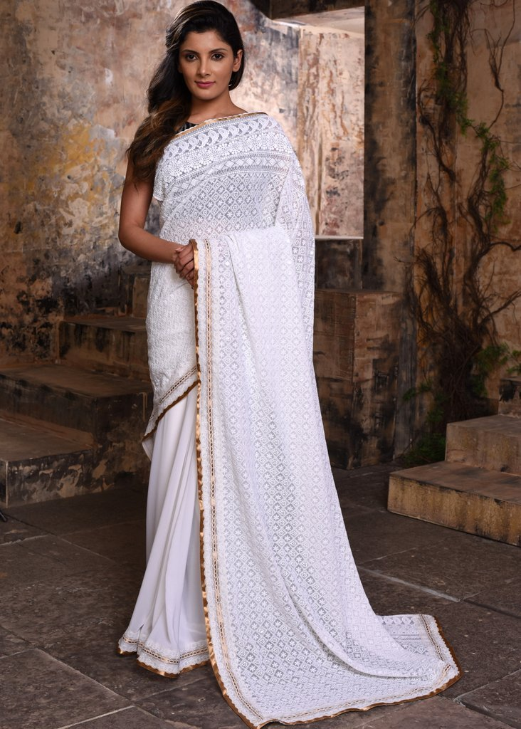 Exclusive Embroidered georgette saree - Sujatra