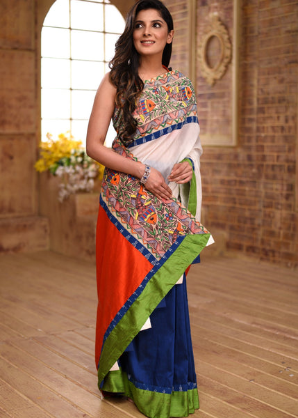 Combination of white chanderi with  blue & orange cotton silk saree with hand painted madhubani border - Sujatra