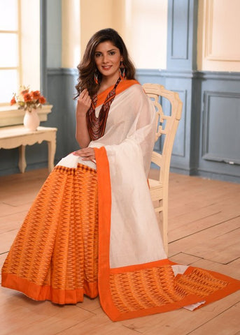 White chanderi saree with ikat pleats