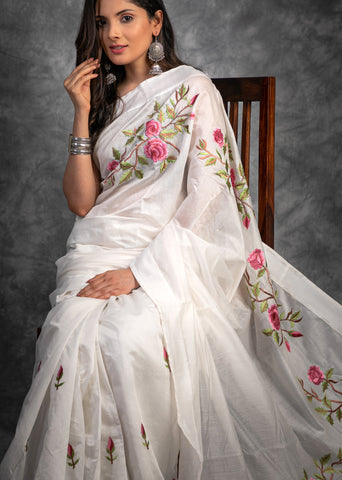 Exclusive hand embroidered White chanderi saree