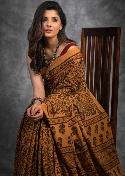 Block printed Ajrakh handloom cotton saree