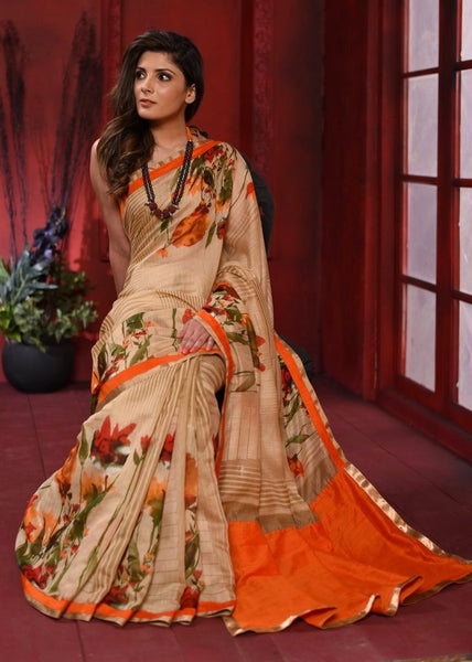 Exclusive Floral printed beige linen cotton mix saree