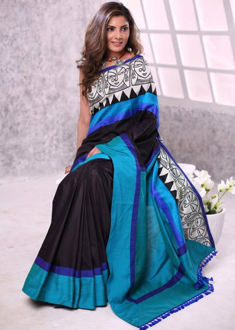 Black semi silk saree with exclusive printed border & cotton silk pallu