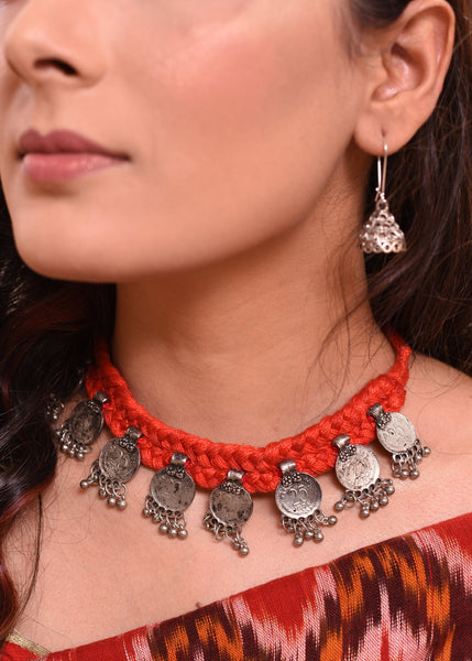 Exclusive choker set with coin tassels - Sujatra