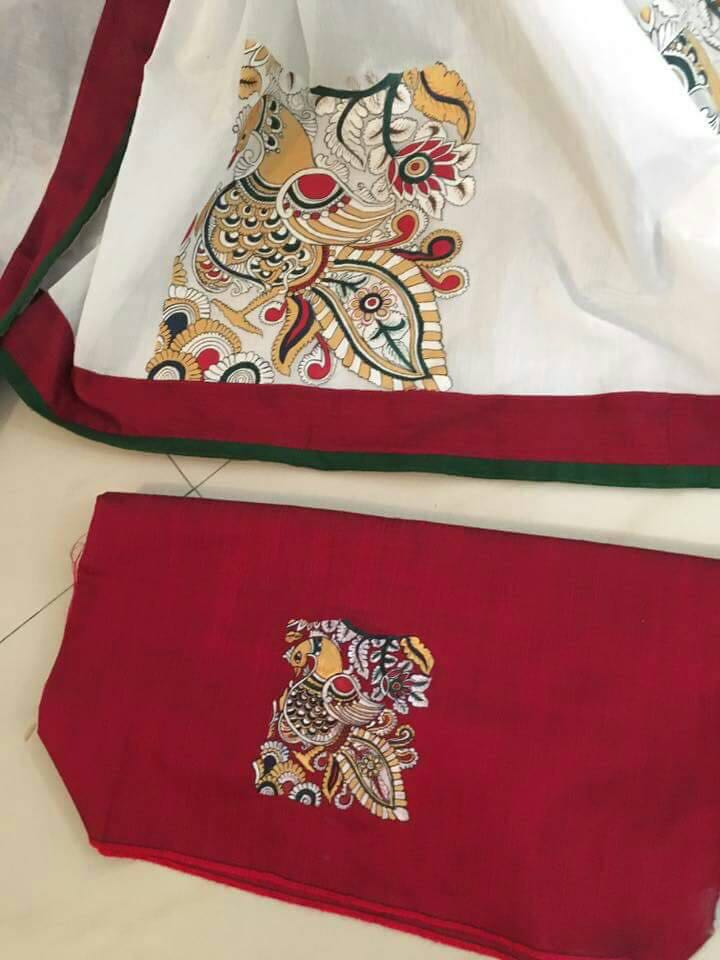 Sujatra Hand Painted Pure Silk Saree