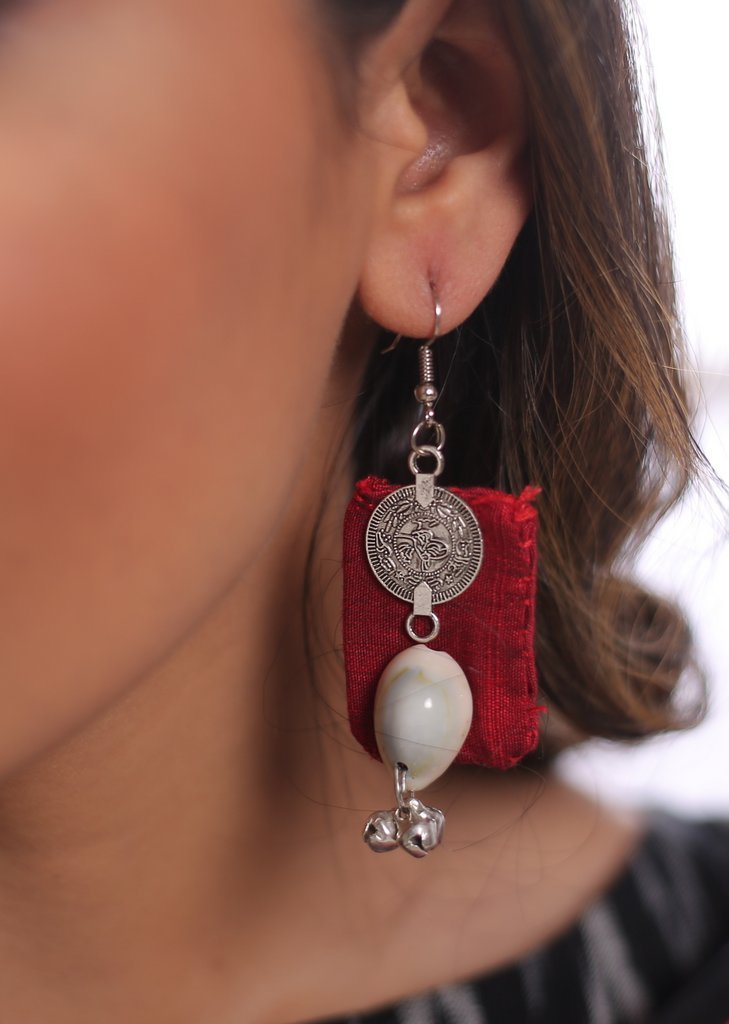 Hand made pompom tessels cowrie earring - Sujatra