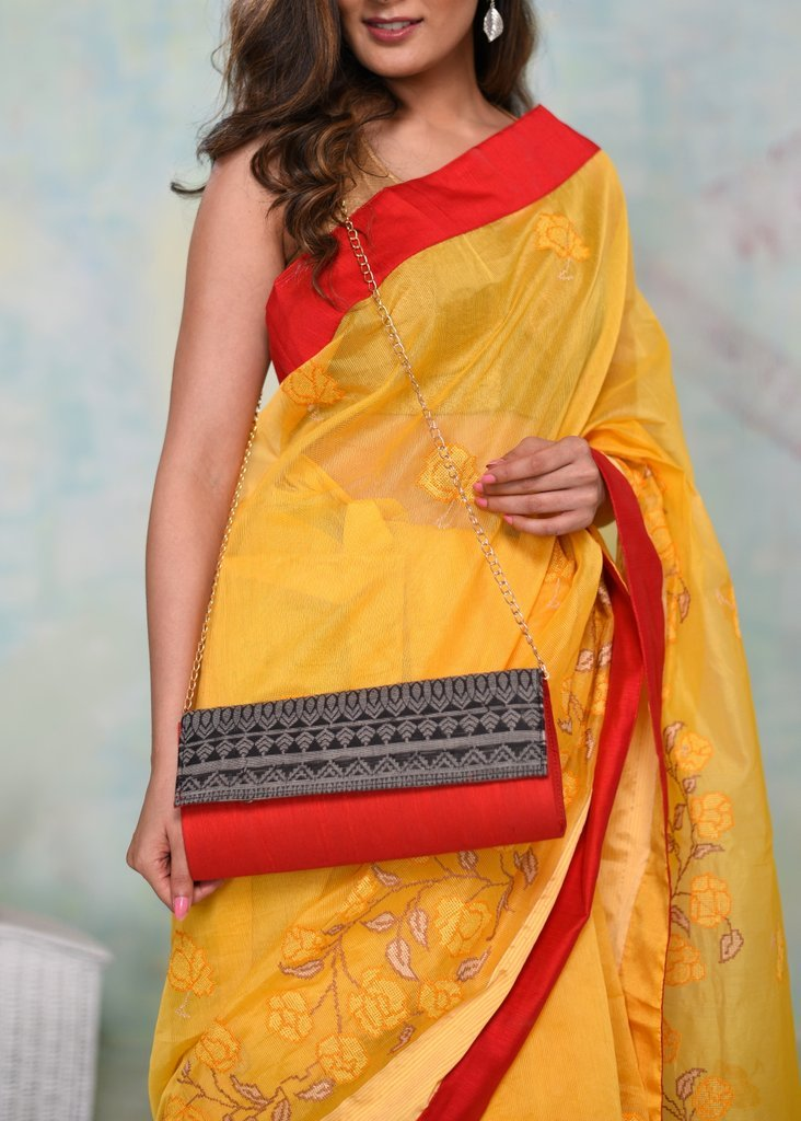 Exclusive designer clutch with woven flap - Sujatra