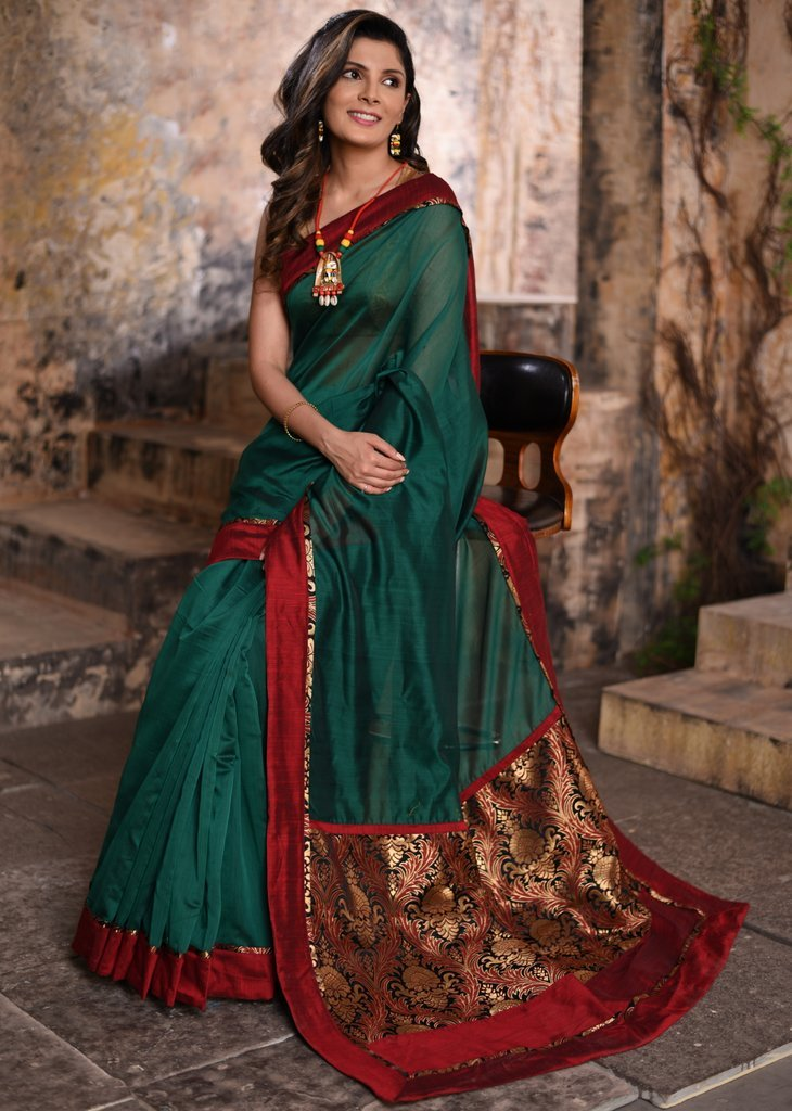 Pure green chanderi saree with benarasi brocade pallu - Sujatra