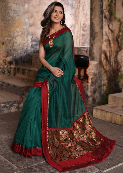 Pure green chanderi saree with benarasi brocade pallu