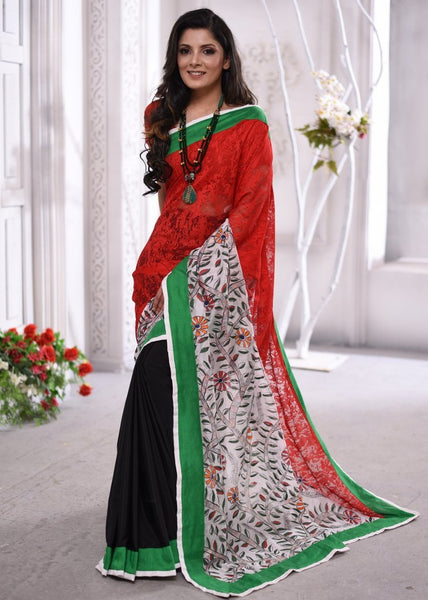 Combination of exclusive red lace & hand painted Madhubani cross pallu saree with black French crepe pleats - Sujatra