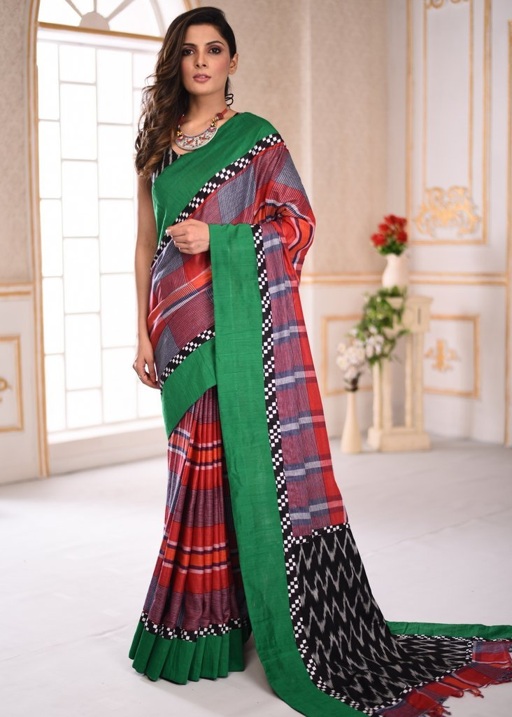 Handloom cotton gamcha saree with ikat pallu