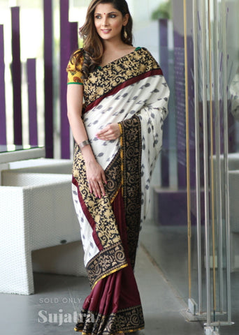Exclusive Ikat & Zari combination saree with wine satin pleats combination