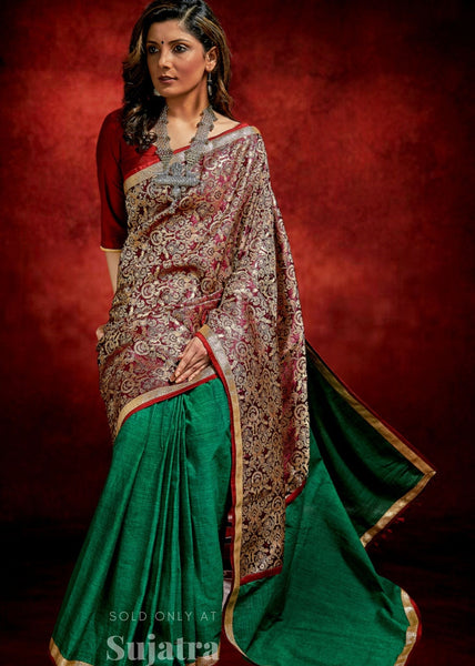 Exclusive benarasi saree with forest green handloom cotton pleats & zari border