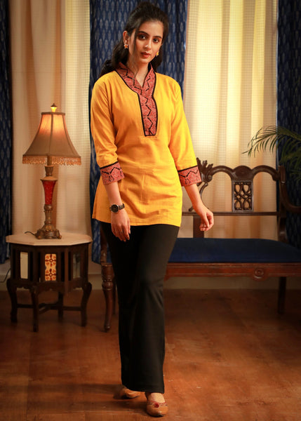 Mustard V-High collar cotton top with Ajrakh block printed lapel - Indian / Western
