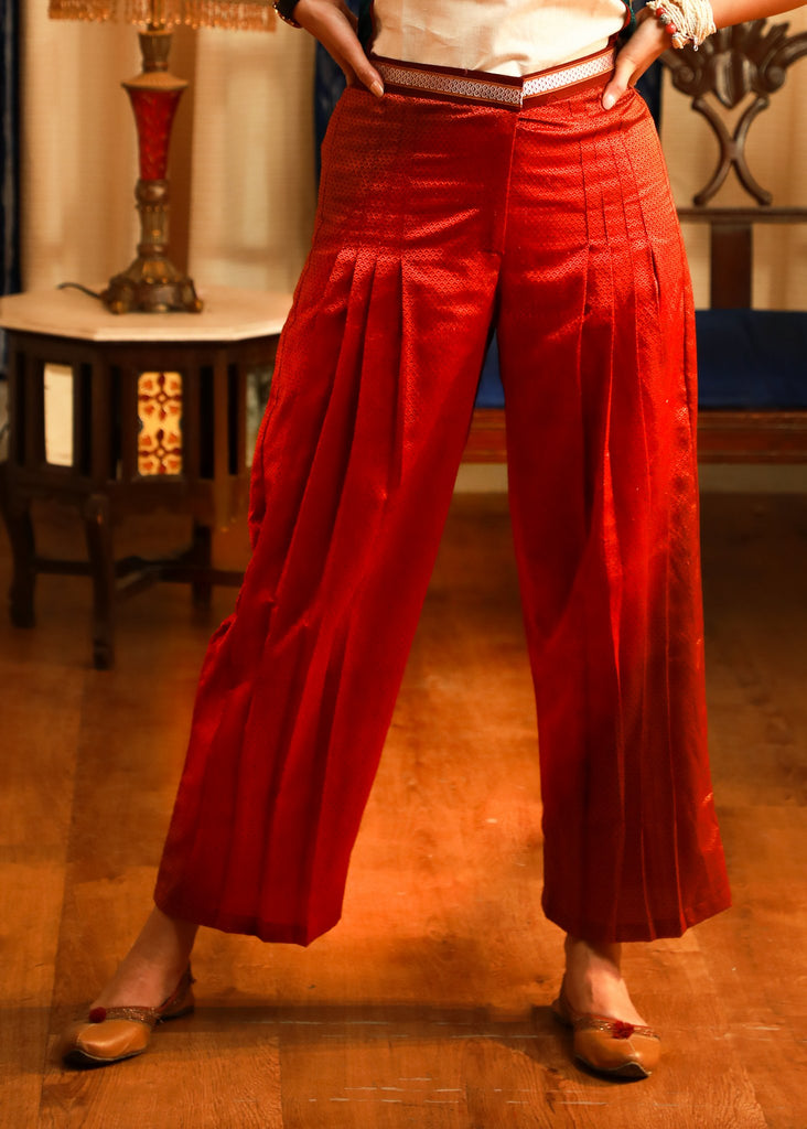 Rust coloured exclusive khun pleated pant