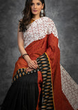 Exclusive self design handloom cotton saree with lace border