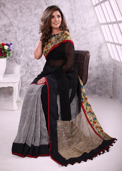 Pure linen saree with ghicha silk pallu & hanpainted kalmkari border - Sujatra