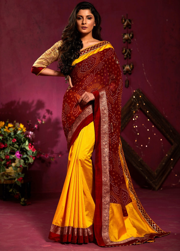 Georgette bandhani saree with yellow chanderi combination