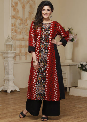 Exclusive Ikat & Hand painted kalamkari combination kurti