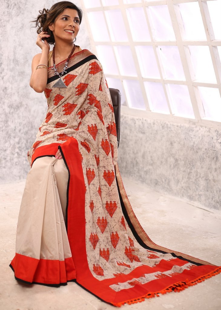 Exclusive printed cotton & beige chanderi combination saree with zari border