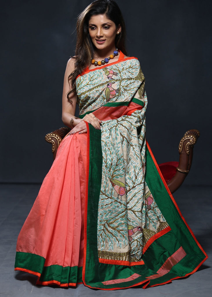 Peach chanderi saree with hand painted gond tribal art wotk on pallu and front - Sujatra