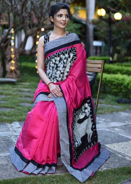 Pink Chanderi saree with hand painted gond work