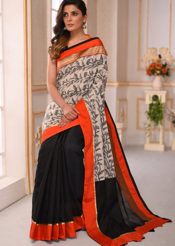 Dabu printed cotton with black chanderi saree with zari border