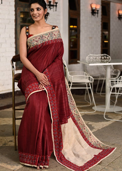 Maroon pure raw silk saree with hand painted madhubani & ajrakh border - Sujatra