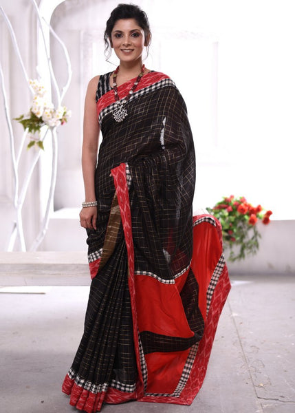 Exclusive pure linen chequred saree with ikat & handloom cotton border