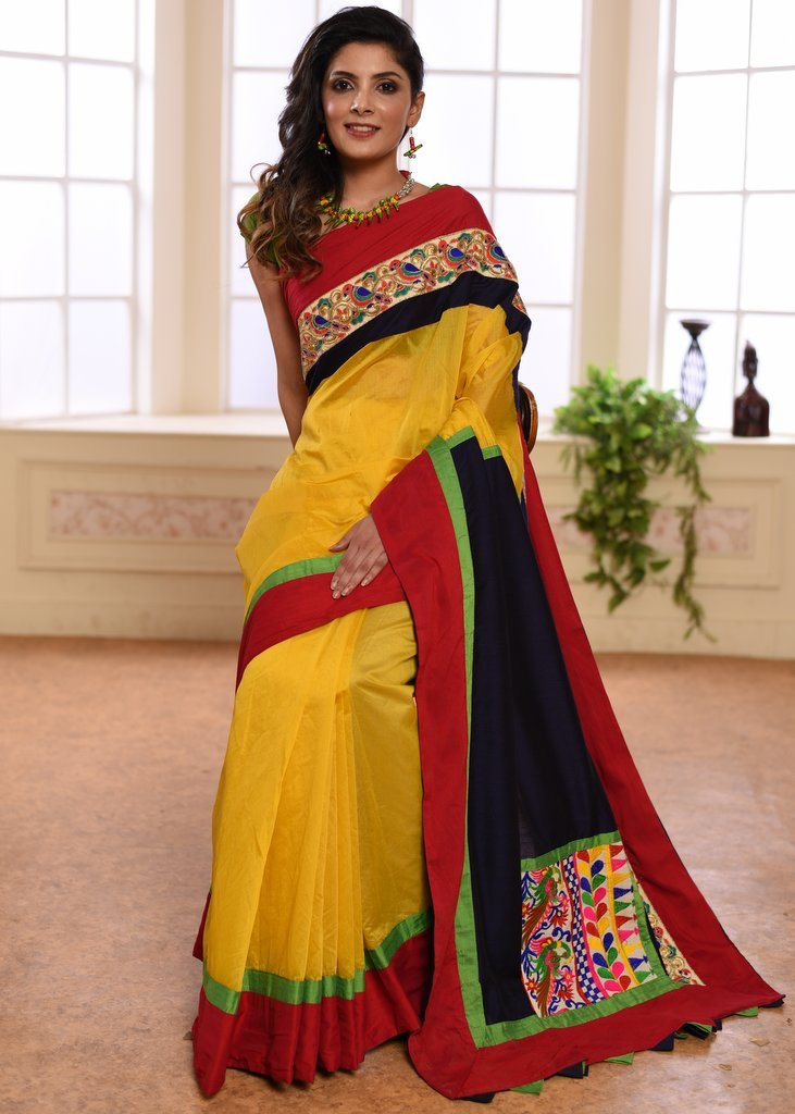 Yellow chanderi saree with embroidered border & patch on pallu - Sujatra
