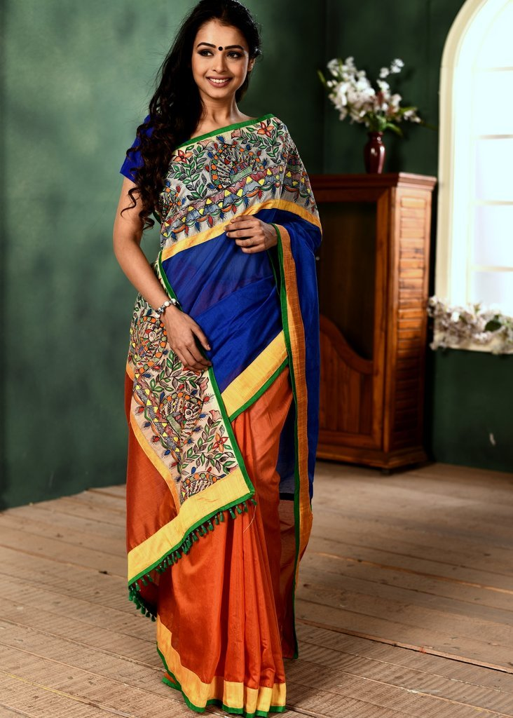 Blue & orange chanderi combination saree with hand painted madhubani border - Sujatra