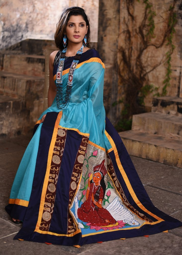 Blue chanderi saree with exclusive hand painted pallu