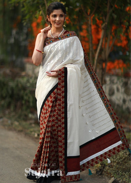 Exclusive designer saree with mirror work & block printed cotton pleats - Sujatra