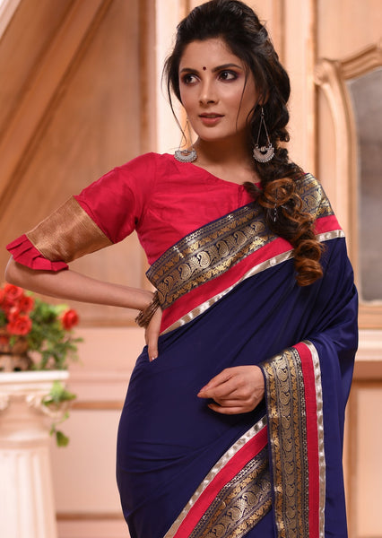 Navy blue French crepe saree with exclusive zari border