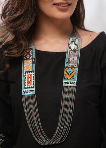 Bohemian spirited multicloured glass bead neckpiece set