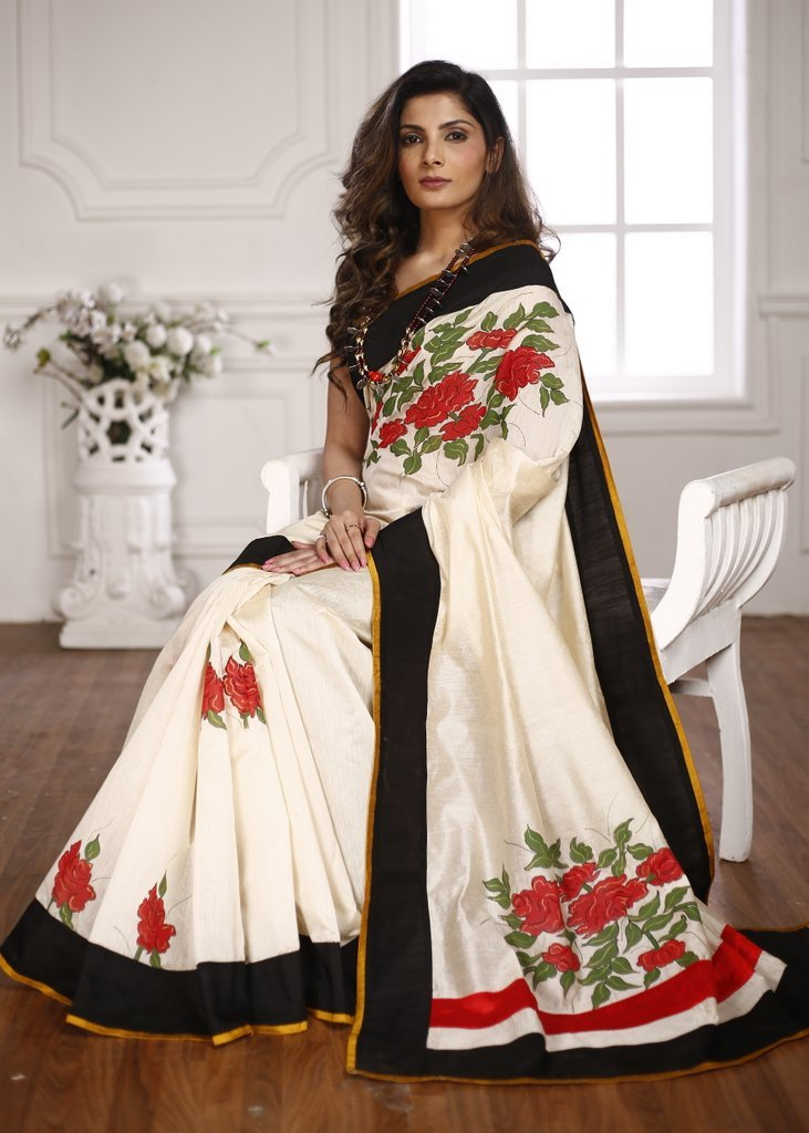 Off white chanderi saree with exclusive floral hand painting - Sujatra