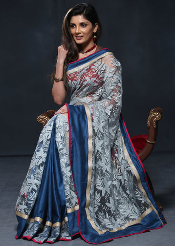 Exclusive Lace and blue satin combination saree