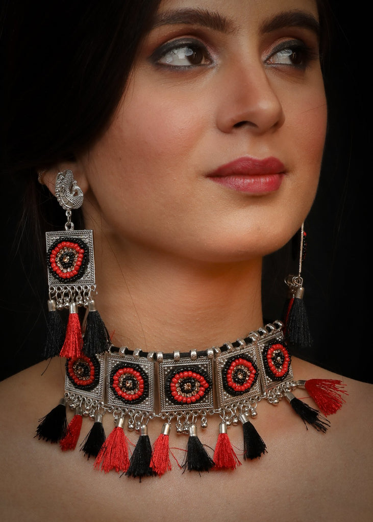 German Silver Oxidised beaded Afgani Choker in red & black  with matching earrings