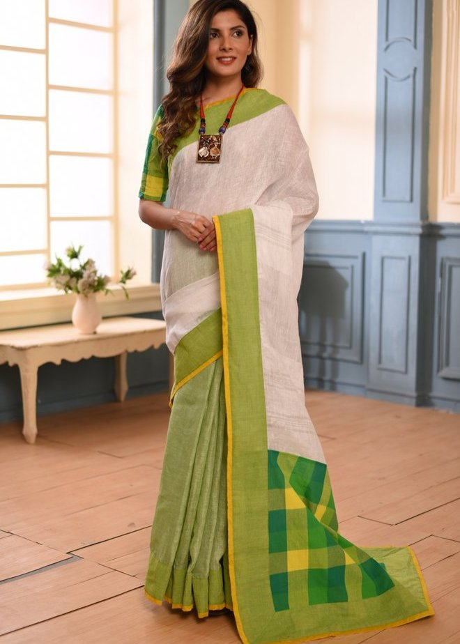 Pure Linen saree with cotton checks pallu with matching blouse - Sujatra