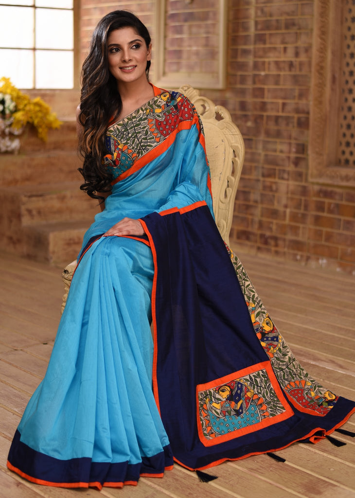 Blue chanderi saree with hand painted madhubani border & patch on pallu - Sujatra