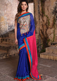 Blue chanderi saree with exclusive hand painted madhubani work