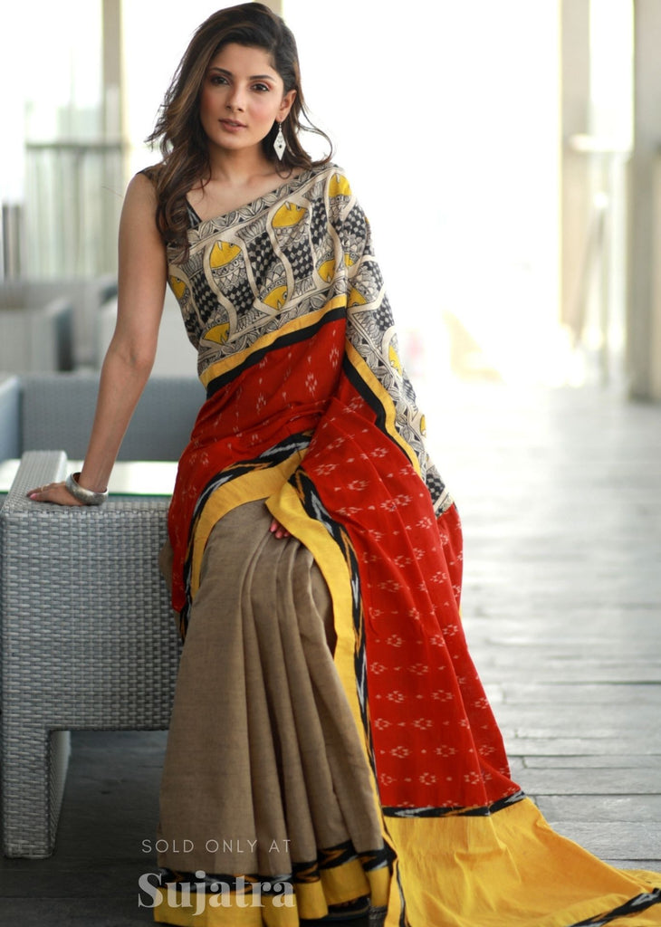 Exclusive sambalpuri ikat & madhubani hand painted saree with brown handloom cotton pleats