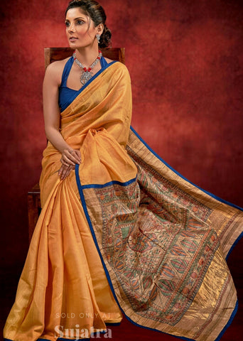 Exclusive silk saree with hand painted madhubani painting & zari border