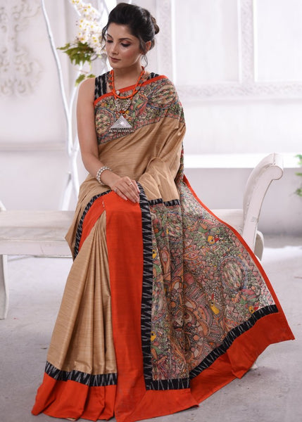 Exclusive semi silk saree with hand painted madhubani pallu & ikat border