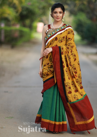 Exclusive block printed saree with kutchi mirror work & handloom cotton pleats