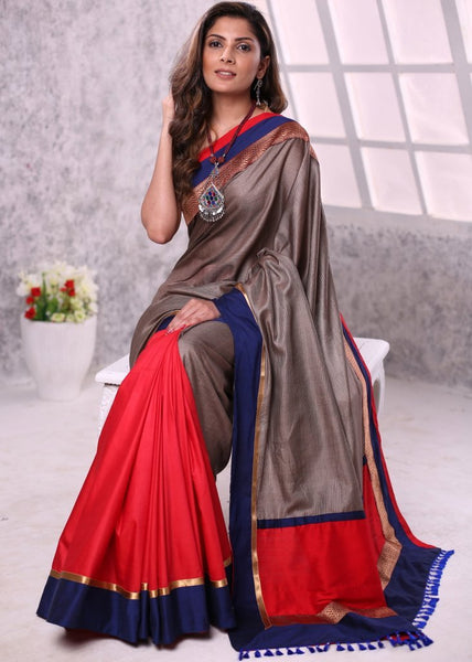 Striped grey kosa silk with red semi silk saree & zari border - Sujatra
