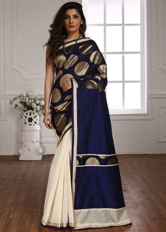 Exclusive benarasi work with off white pleats with blue cotton silk pallu saree