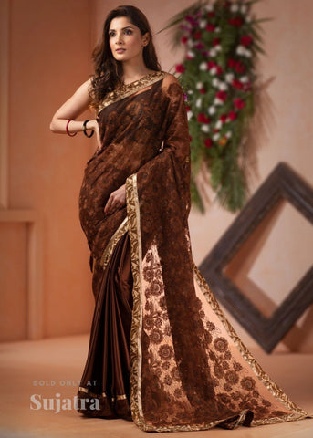 Exclusive embroidered net saree with satin pleats